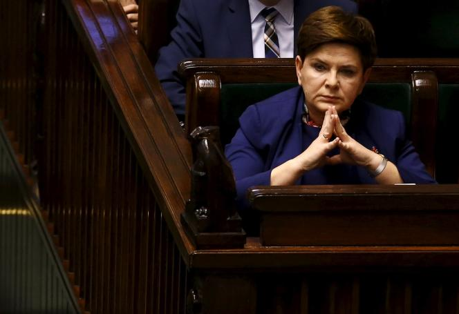 La première ministre de Pologne, Beata Szydlo, au Parlement, à Varsovie, mercredi 13janvier.
