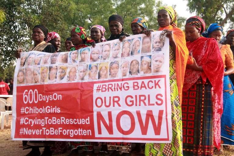 Manifestations de femmes à Abuja le 14 janvier 2016 pour réclamer le retour des jeunes filles enlevées par Boko Haram en avril 2014.