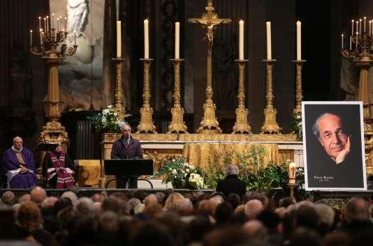 L'architecte Renzo Piano, jeudi 14 janvier, à l'église Saint-Sulpice, lors d'un hommage à Pierre Boulez.
