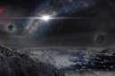Représentation d'un paysage sur une exoplanète.