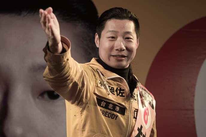 Freddy Lim, candidat du Nex Power Party (NPP) le 14 janvier 2016 à Taipei.