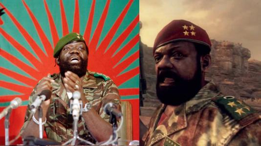 """Jonas Savimbi (à gauche) et son homologue dans """"Call of Duty : Black Ops 2""""."""