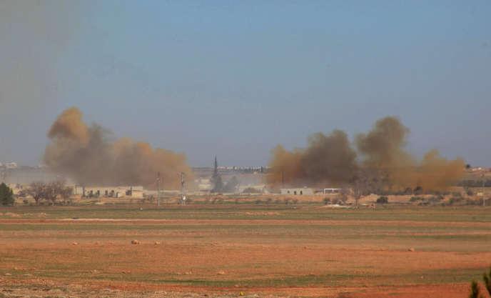 Au nord d'Alep (Syrie), après un bombardement des forces gouvernementales, le 15 janvier.
