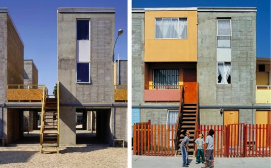 Maisons conçues par Alejandro Aravena et modifiées par leurs habitants, à Iquique (Chili).