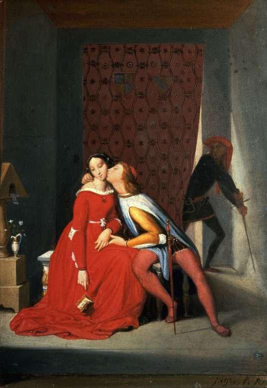 """""""Paolo et Francesca, surpris par Gianciotto"""" par Jean-Auguste-Dominique Ingres (1850)."""