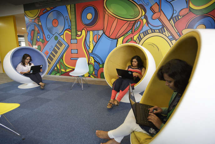 Dans les locaux de Flipkart, à Bangalore (sud de l'Inde). Le site de commerce en ligne est valorisé à plus de 1milliard de dollars.