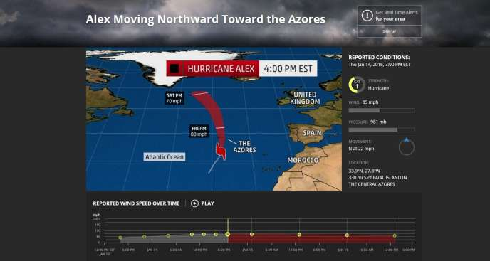 Le suivi de l'ouragan Alex au-dessus de l'Atlantique par The Weather Channel.