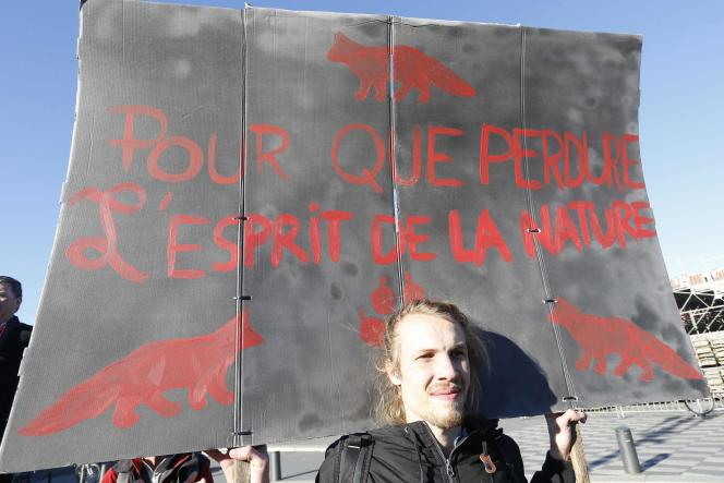 Manifestation pour la protection du loup, à Nice, le 17 janvier.
