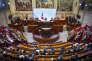 Le déficit d'offre pointé au début du mandat de M. Hollande n'a pas été résorbé. Là réside le grand échec de ce quinquennat. François Hollande, président de la République, lors de la cérémonie des voeux «aux acteurs de l'entreprise et de l'emploi» au Conseil Economique Social et Environnemental à Paris, lundi 18 janvier 2016