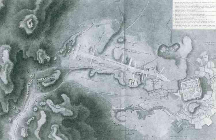 Plan imagé de Palmyre, au crayon et au lavis. Où l'on devine sur la gauche, la nécropole accrochée à flanc de colline, la trace blanche de la longue colonnade de 1 200 mètres qui traverse la cité et aboutit au  plan carré du temple de Bêl.