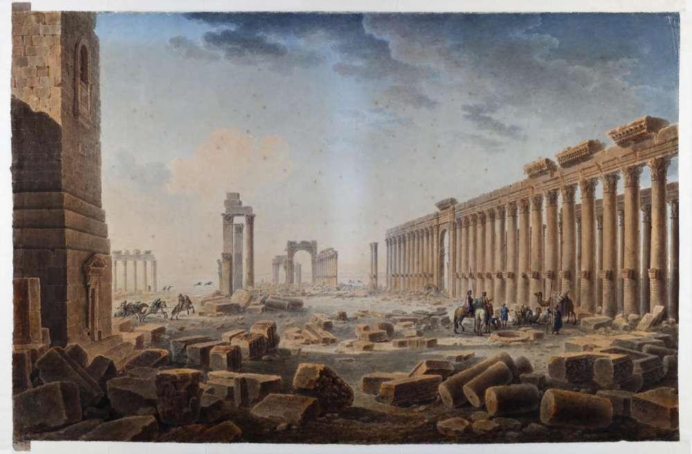 Vue de la Grande Colonnade de Palmyre, dessin repris en 1821, à l'aquarelle et à la gouache, sur lequel Louis-François Cassas prend la liberté de représenter aussi la tour funéraire d'Ellabel, en fait située à flanc de colline, dans la nécropole en marge de la cité.