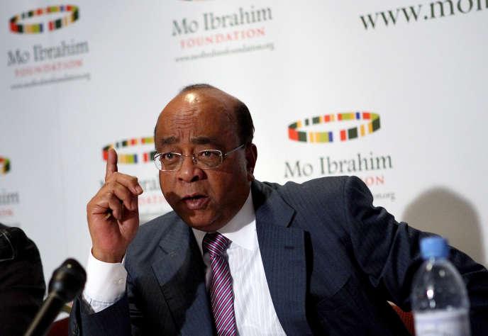 L'homme d'affaires Mo Ibrahim et fondateur de la fondation éponyme, lors du lancement de l'indice de la gouvernance en Afrique, le 6 octobre 2008 à Addis Abeba.