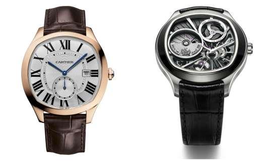 A gauche, Drive, de Cartier. A droite, Emperador Coussin XL 700P, de Piaget.