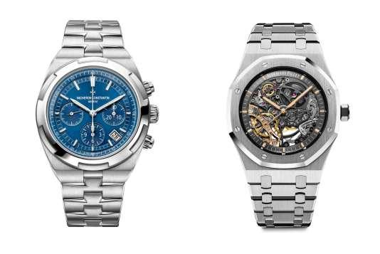 A gauche, le chronographe Overseas, de Vacheron Constantin. A droite, la Royal Oak double balancier squelette, d'Audemars Piguet.