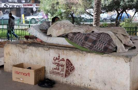 Un sans-abri à Beyrouth, au Liban.