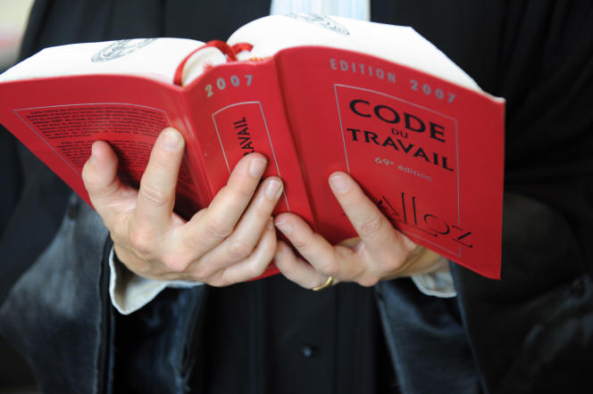 A lawyer holds a copy of the French labour code (