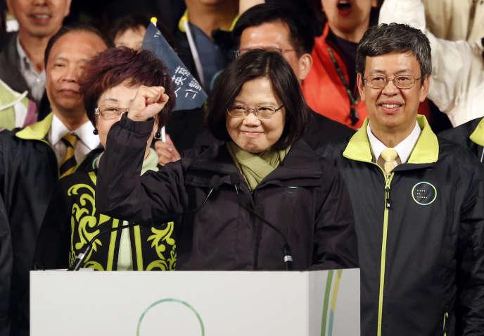 Tsai Ing-wen, au soir de sa victoire, le 16 janvier, à Taipei.