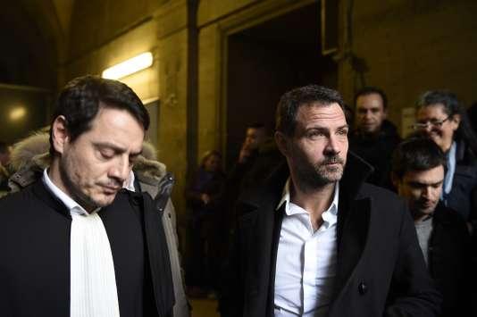 Jérôme Kerviel et son avocat, David Koubbi, à Paris, en janvier.