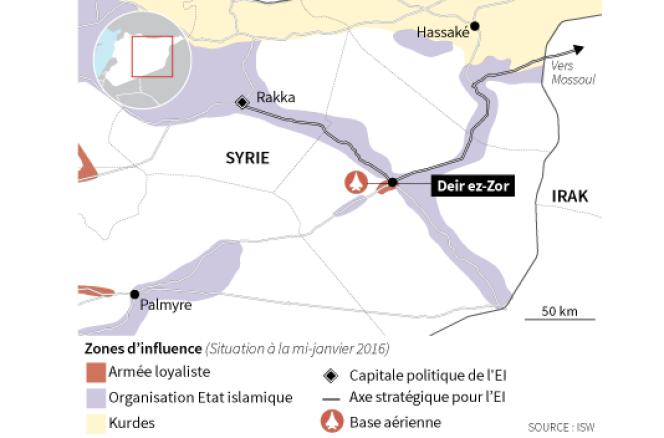 Les positions de l'organisation Etat islamique en Syrie.