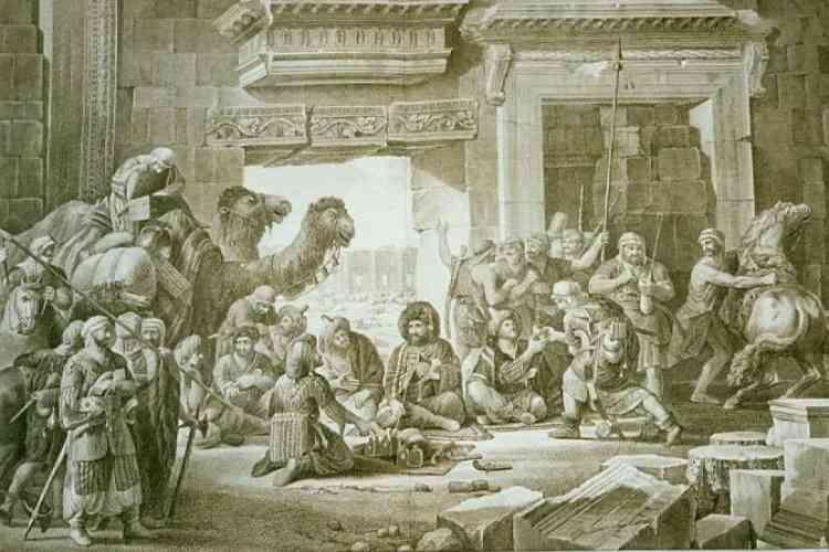 Louis-François Cassas en costume bédouin, vu de dos, est assis face au chef de la tribu arabe qui l'accueille et le prend sous son aile. Au sol, sur une natte, les présents qu'il n'a pas manqué d'apporter : café, tabac, savon, étoffes. La scène se situe à l'intérieur de l'enceinte du temple Bêl, où les nomades sont installés.