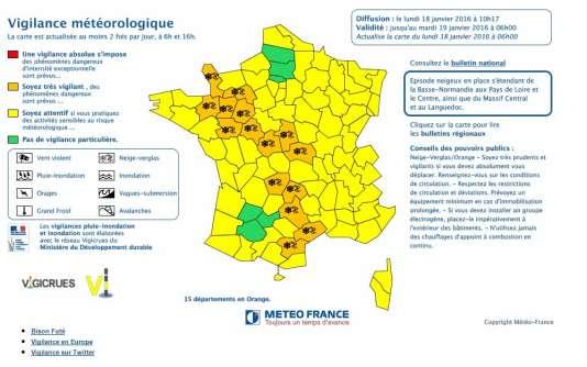 Alerte Météo France, lundi 18 janvier.
