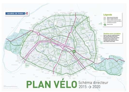 En rouge, les grands axes du réseau cyclable parisien en 2020.