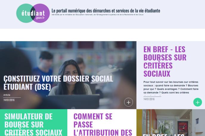 Capture d'écran du portail gouvernemental Etudiant.gouv.