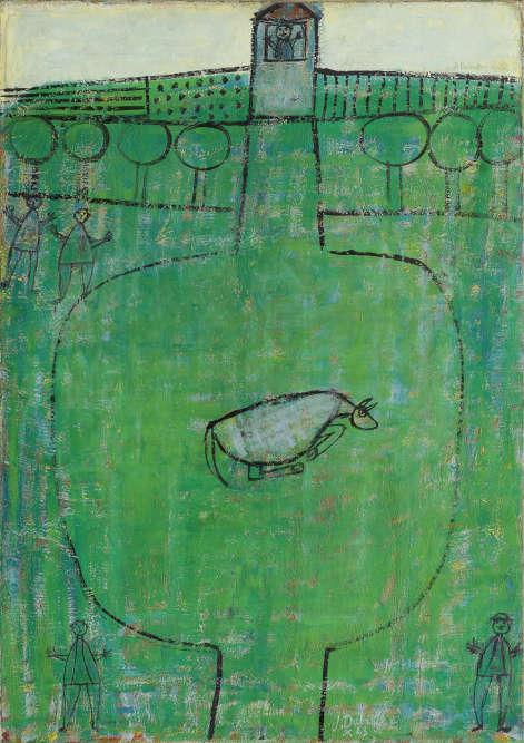 « Le paysage apparaît comme un champ vert et plat occupant toute la surface de la toile, avec un horizon haut placé. Des sortes d'échafaudages de lignes et de hachures subdivisent ces vastes surfaces en différentes zones que l'on peut interpréter d'une part comme des parcelles, d'autre part comme des chemins ou des routes. »