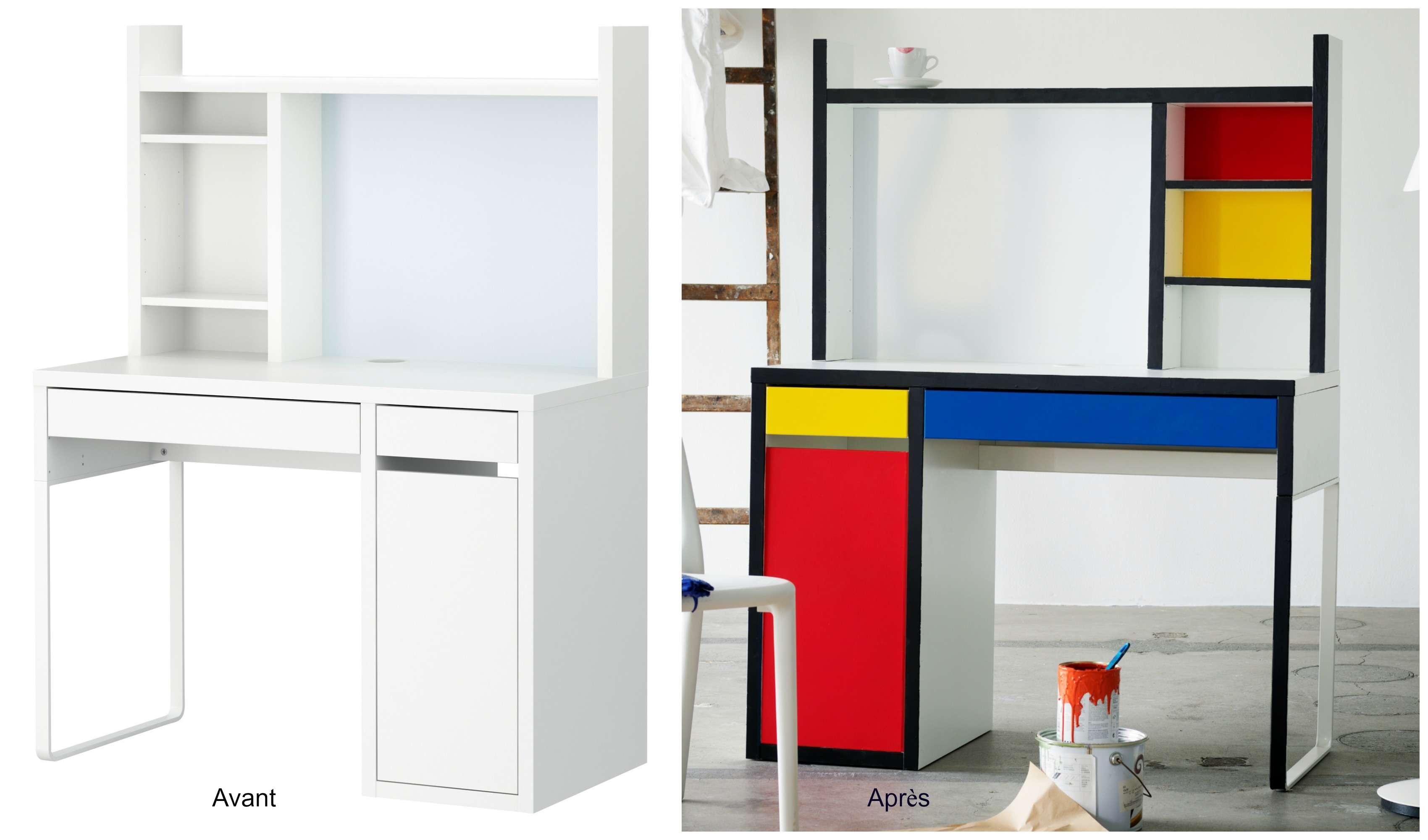 Le poste de travail MICKE transformé en bureau façon Mondrian.