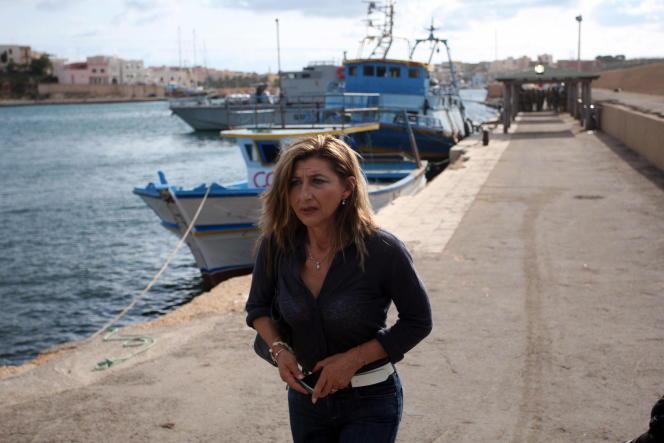 Giusi Nicolini, en octobre 2013 à Lampedusa.
