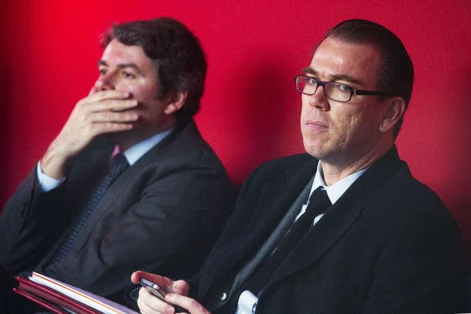 Le directeur de campagne Guillaume Lambert pendant une interview radio de Nicolas Sarjozy en avril 2012.