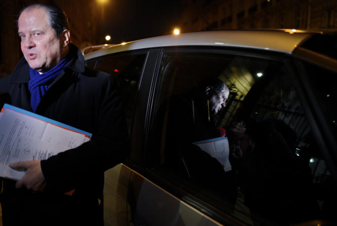 Jean Christophe Cambadelis quittant le Bureau National du parti socialiste le 18 janvier 2016.