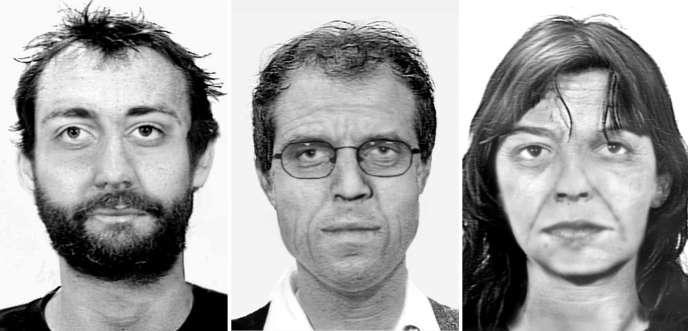 Images vieillies de Burkhard Garweg (à gauche), Ernst-Volker Wilhem Staub et Daniela Klette, trois membres de la RAF, diffusées par l'Office fédéral allemand de police criminelle.