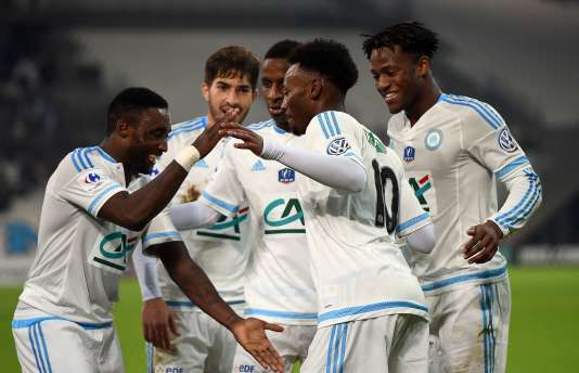 Les marseillais célèbrent le deuxième but de la formation lors du match contre Montpellier, le 20 janvier au Vélodrome.