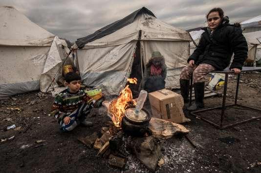 Dans le camp de migrants de Grande-Synthe, près de Dunkerque, le 20 janvier 2016.
