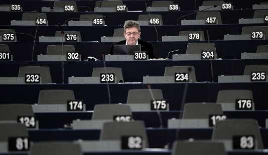 Jean-Luc Mélenchon au Parlement européen de Strasbourg, le 20 janvier à Strasbourg.