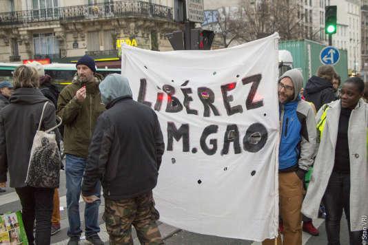 Manifestation de soutien à Gao Peng, à Paris, le 20 janvier.