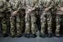 Des élèves de l'école militaire Saint-Cyr Coëtquidan assistent aux vœux de François Hollande, le 14janvier.