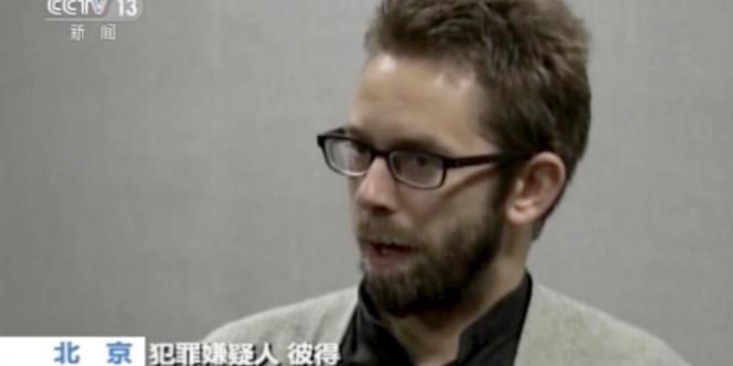 Peter Dahlin sur des images diffusées par la télévision publique chinoise, CCTV13, le 19 janvier 2016.