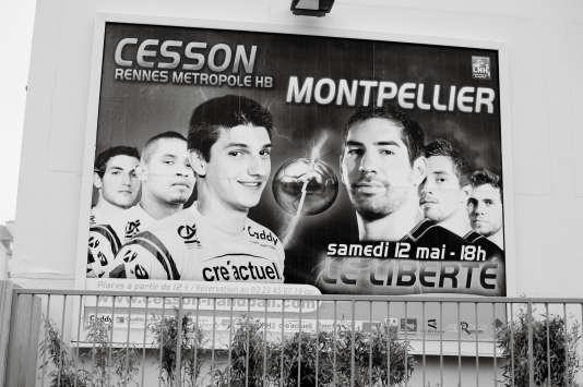 Une affiche pour le match Cesson-Rennes - Montpellier, le 8 mai 2012.