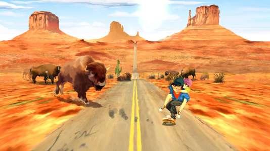 Amie malade sur le dos, le héros doit éviter des obstacles en rythme - comme ici, des bisons dans un paysage de western.