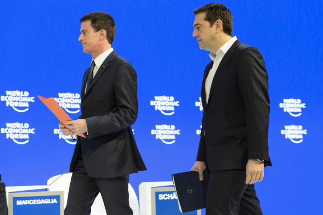 Manuel Valls et Alexis Tsipras au forum de Davos, le 21 janvier.