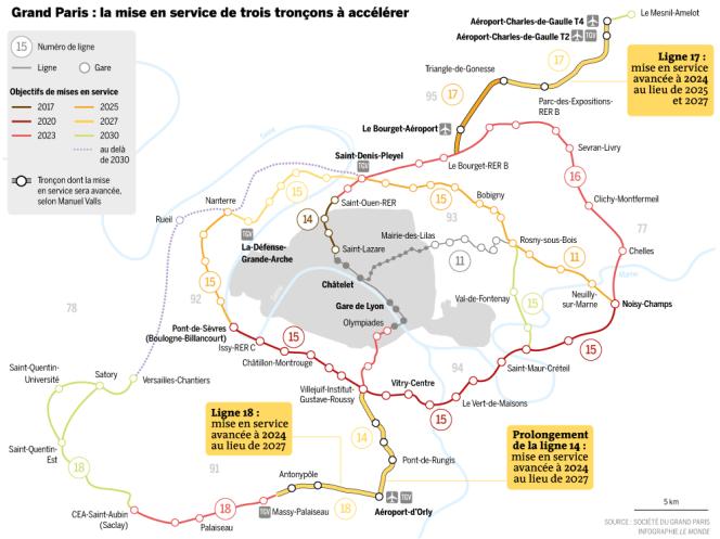Les phases de mises en service des lignes du Grand Paris.