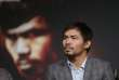Manny Pacquiao lors d'une conférence de presse à Las Vegas.
