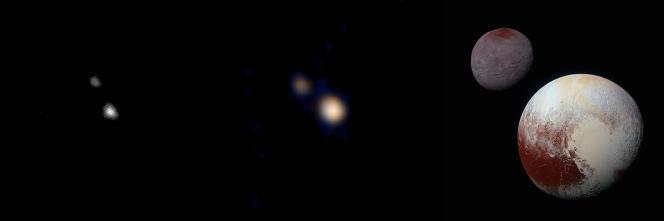 Pluton vu par la sonde New Horizons à respectivement 202, 115 millions de kilomètres et à quelques dizaines de milliers de kilomètres. Photo : NASA/JHUAPL/SwRI