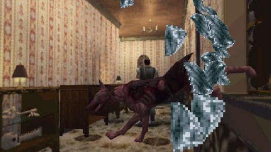 Le chien zombie qui surgit de la fenêtre, une des scènes les plus célèbres du jeu de Capcom.
