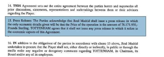 Le contrat signé par Bale avec le Real Madrid.