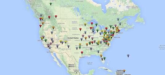 Cette carte répertorie les lieux où se sont rendus les agents Mulder et Scully, les deux personnages principaux de la série « X-Files ».