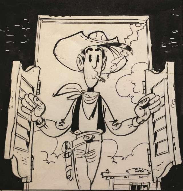 """Jean-Pierre Mercier : « Au début des """"Rivaux de Painful Gulch"""", Lucky Luke pénètre dans un saloon typique sans se douter que les ennuis vont bientôt commencer. Dessinée en contreplongée, l'entrée du héros rappelle celles de John Wayne ou de Gary Cooper dans les westerns américains classiques. »"""