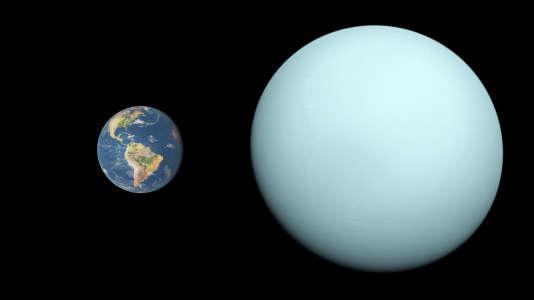 La « neuvième planète » comparée à la Terre, si elle faisait trois fois le diamètre de notre planète.